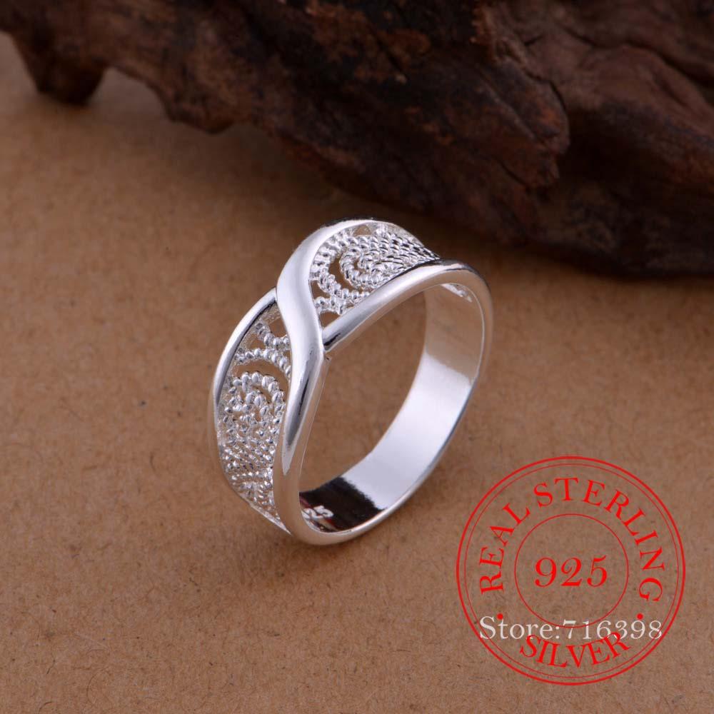 100% Стерлинговое Серебро 925 пробы ювелирные изделия винтажный полый узор для пар серебряные обручальные кольца для женщин и мужчин модные юв...