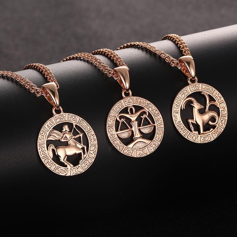 FJ 12 Zodiac Sign 585 Gold Color Constellation Rose White Pendants Capricorn/Gemini Twisted Necklace Chain Women Men Jewelry