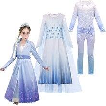 Robe blanche Elsa reine des neiges 2   Costumes de jeu de rôle, robe de princesse fantaisie pour tout-petits, vêtements de Cosplay Elsa et Anna, nouvelle collection hiver
