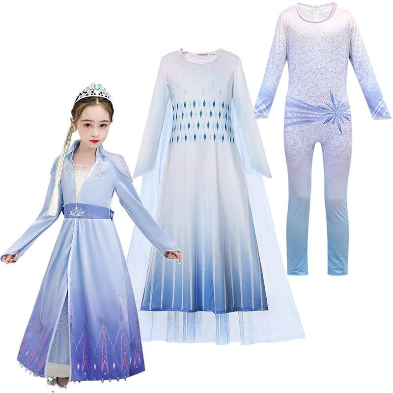 Vestido blanco Elsa reina de la nieve 2 disfraces de juego de rol fantasía Niño pequeño invierno nuevo vestido de princesa Elsa y Anna juego ropa de Cosplay