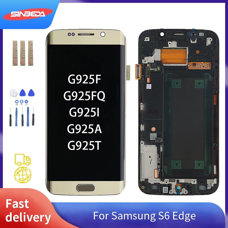 شاشة لمس LCD سوبر أموليد مع هيكل ، 5.1 بوصة ، لهاتف SAMSUNG Galaxy S6 Edge G925 G925F مع Burn-Shadow