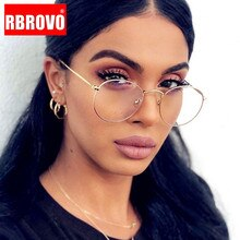 RBROVO Metal Round Glasses Frame Women Vintage Eyeglasses Frame Women/Men Mirror Eyewear Frame Men A