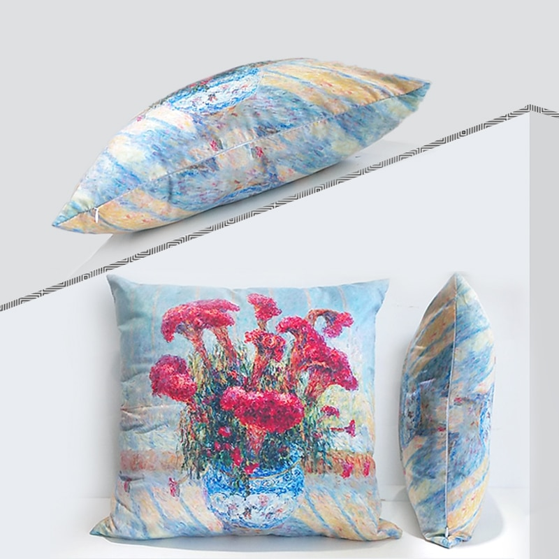 Картина маслом пледы наволочки цветок серии двусторонний чехол для подушки из полиэстера дом диван исследование украшение шаблон