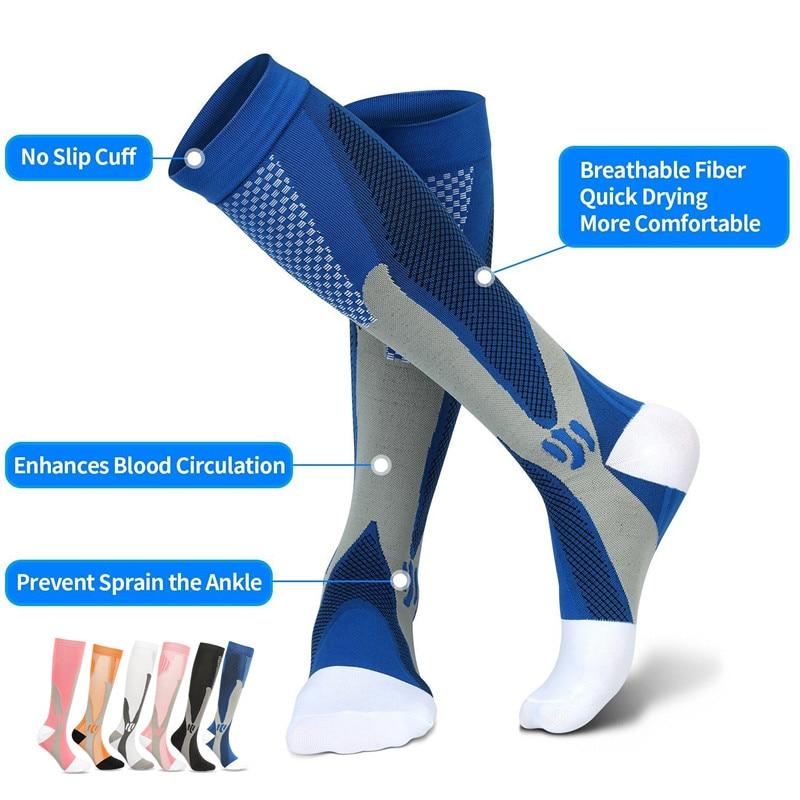 Running Compression Socks Stockings 20-30 mmhg Men Women Sports Socks for Marathon Cycling Football Varicose Veins