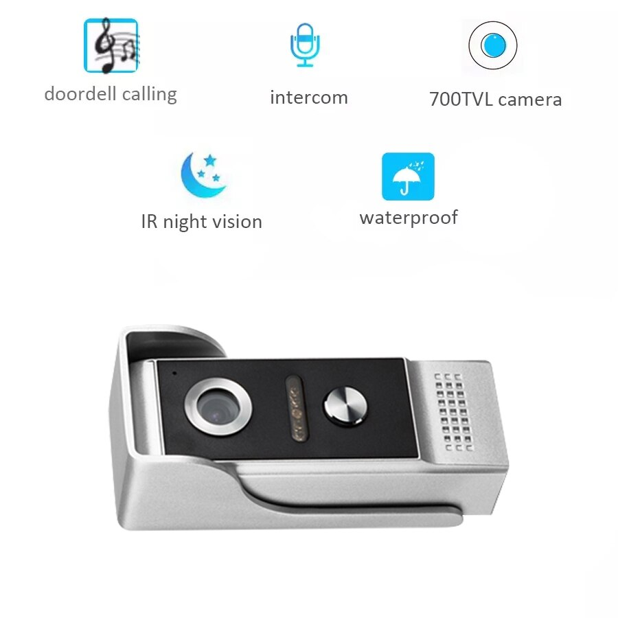 AnjieloSmart Wired Video Door Bell Intercom System with 7'' Inch Color Monitor Waterproof outdoor IR Camera for private homes enlarge
