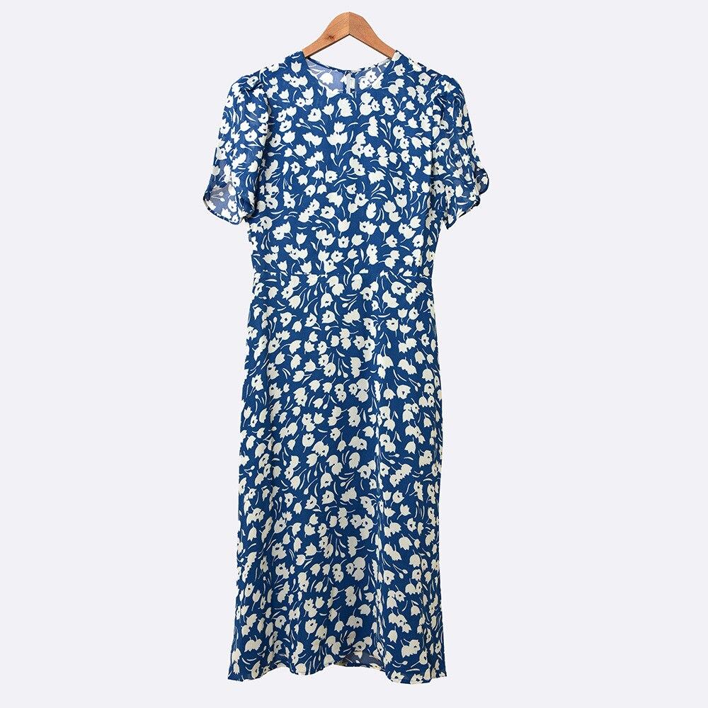 Cuello redondo 100% viscosa mujeres Midi Vestido de manga corta Floral Prairie Chic estampado de primavera vestidos de verano