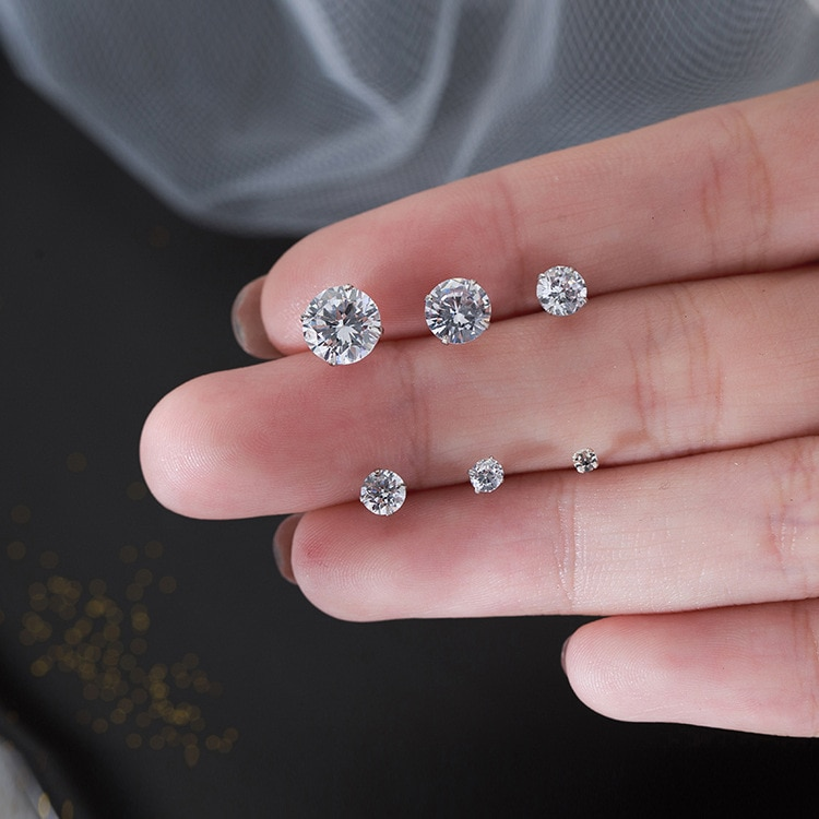 S925 Sterling Silver Zircon Earstuds Women Simple Drill Earrings 2021 New Fashion Earg Accessories P