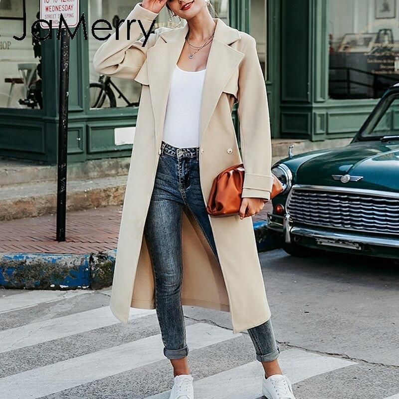 JaMerry Vintage invierno tweed abrigo largo mujer manga larga faja elegante cinturón prendas de vestir abrigo Otoño Invierno streetwear abrigos