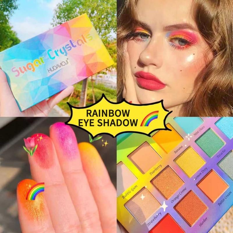 Paleta de sombras de ojos de 18 colores HUDAMOJI, paleta de sombras de ojos con purpurina arcoíris mate colorida de verano, maquillaje resistente al agua y sin manchas TSLM1