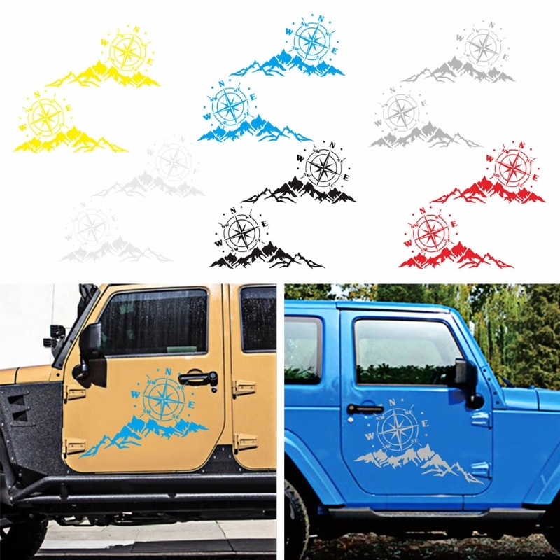 1 Pair Mountain Compass Car Sticker Funny Vinyl Car-Styling Decals Motorcycles Auto Window Decoration PVC Stickers Vinyl Decal