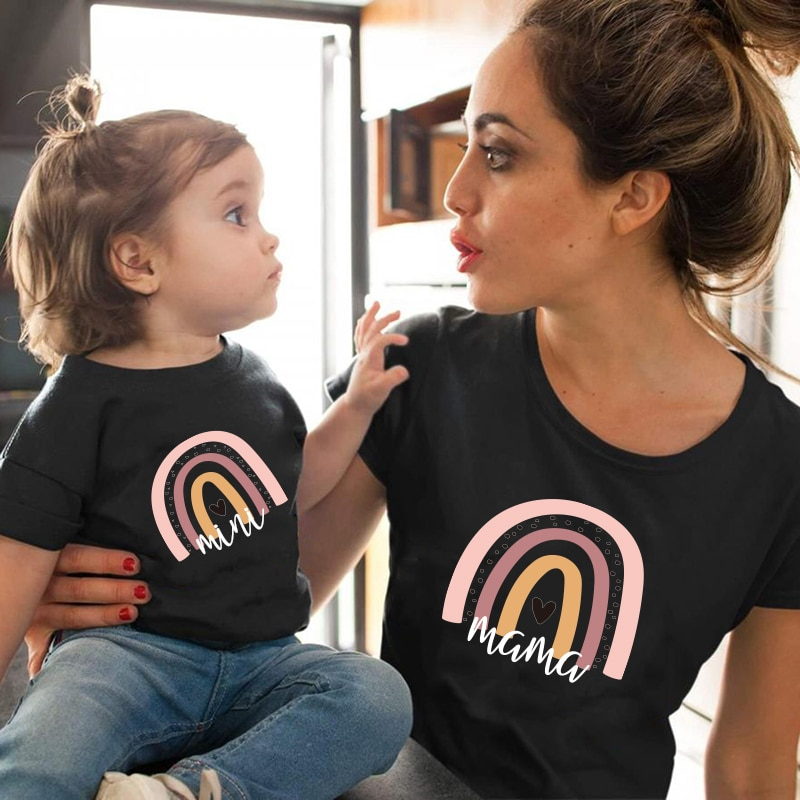 1pc Fashion  Mama and Mini Rainbow print Family Matching T-shirt Short Sleeve Family Look T-shirts Mother and Daughter Clothes