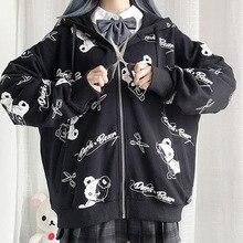 Sudadera gótica fina con capucha para mujer, ropa de otoño con cremallera negra, estilo coreano, de manga larga, estilo Emo