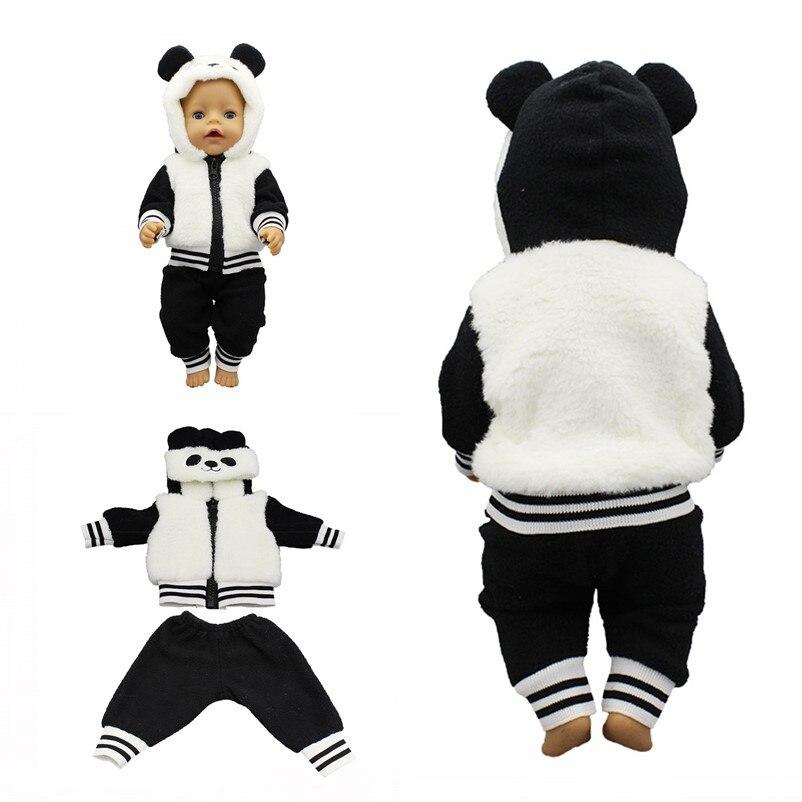 Fit 18 дюймов для новорожденных Кукла Одежда и аксессуары панда цельная одежда для малышей подарок на день рождения