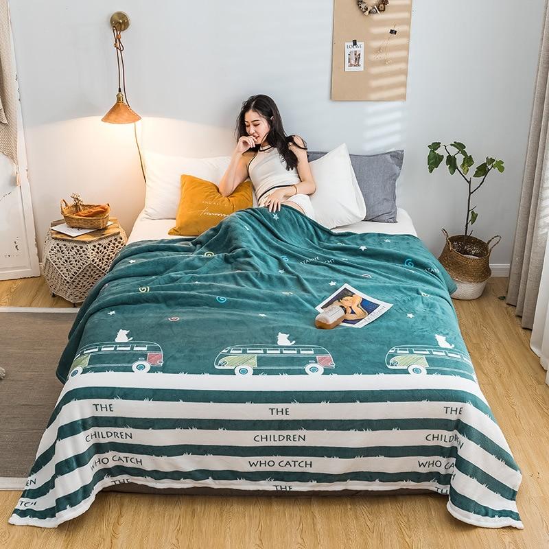 سميكة لينة دافئ شتاء دافئ البطانيات الفانيلا غرفة نوم مطبوعة البطانيات لحاف Edredones Acolchados Invierno غطاء السرير BC50MT