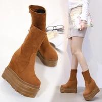 14cm new martin boots womens womens slope heel plus velvet autumn and winter thick bottoms inside the high matte short boots