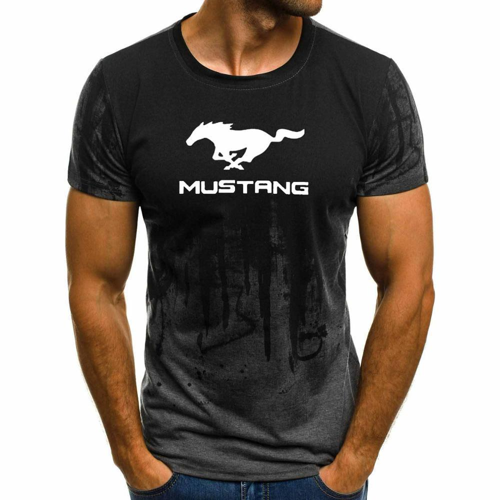 Summer new Mustang car logo T-shirt men's casual O-neck short-sleeved fashion street brand sports T-