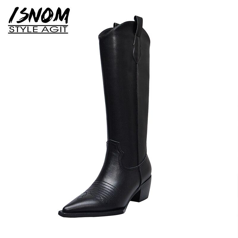 ISNOM الغربية أحذية النساء الركبة عالية أحذية كاوبوي موضة أشار تو إسفين الكعوب الإناث عالية الكعب أحذية سميكة الربيع الأحذية