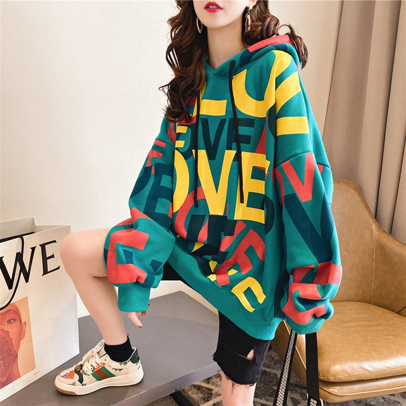 Модные футболки с буквами и кашемировые худи из плотного флиса кофты средней длины больших размеров v-образным вырезом, зимний свитер, куртк...