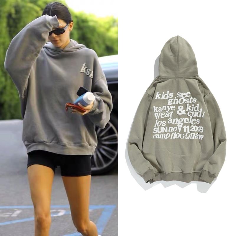 Kanye West كنزة صوفية بغطاء للرأس من الصوف Kendall Jenner قميص مطبوع عليه أشياء غريبة مطبوع عليه رغوة ملابس خروج نسائية