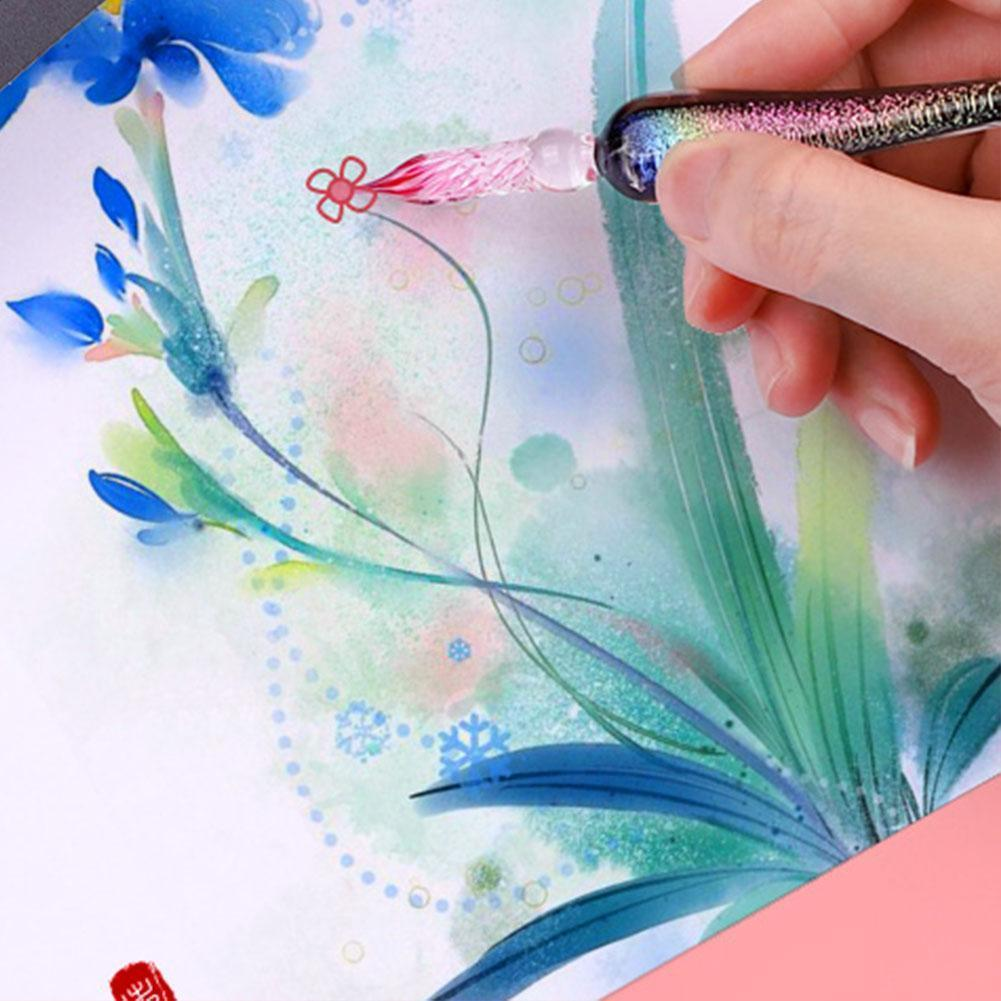 Starry Sky Crystal Glass Dip Pen Dip Ink Pen Color Glass Set Retro Immersion Ink Signature Five-color Art Pen Ink Artwork P C7P5