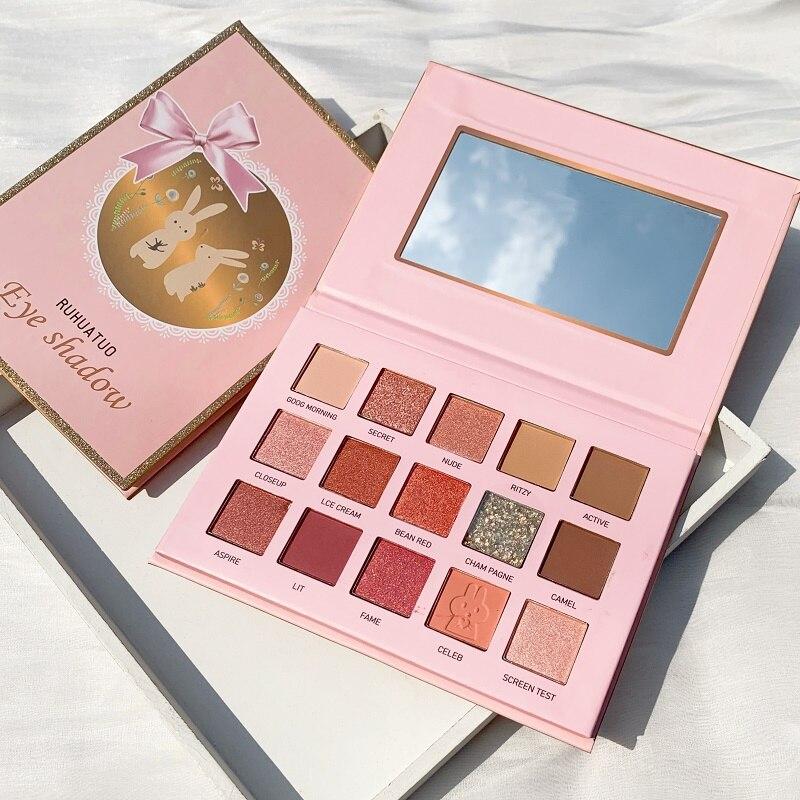 15 cor-de-rosa brilhante sombra pérola maquiagem bonito brilho pigmento à prova dwaterproof água cosméticos sombra de olho pallete dropship tslm1