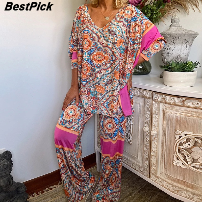 Women's Ethnic Style Printing Suit Casual Two-Piece Women Outfits 2020 New Plus Size Loose Woman Sets Pajamas Sets
