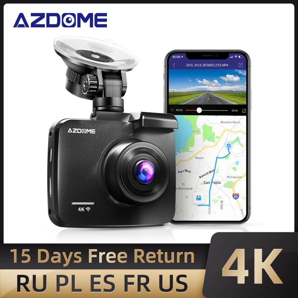 AZDOME 4K 2160P المزدوج عدسة بنيت في GPS WiFi FHD 1080P الجبهة + VGA كاميرا خلفية مسجل سيارة DVR GS63H داش كاميرا للرؤية الليلية