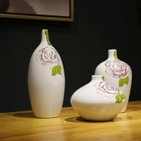 jingdezheng ceramic porcelain peony flower hand painted vases small neck home decoration accessory