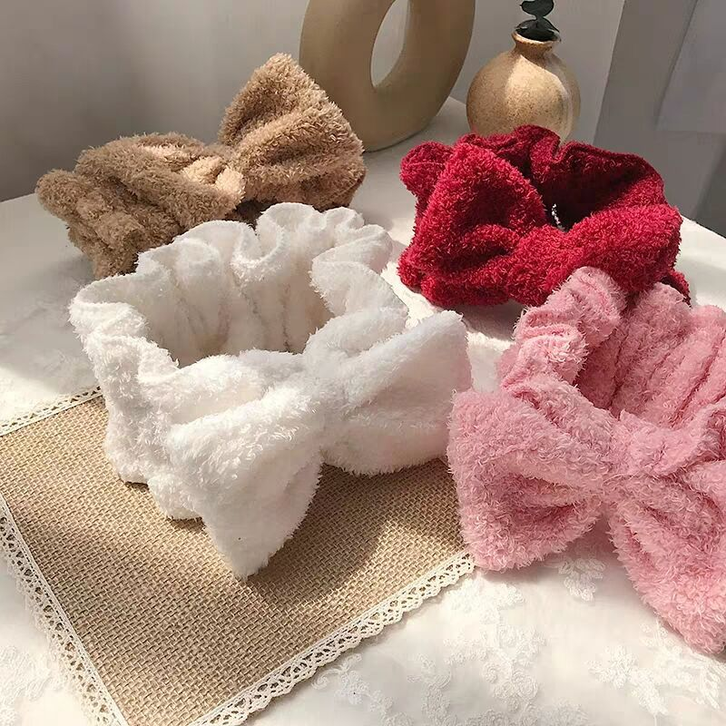 2020 Soft Coral Fleece Hairbands for Women Bow Headbands Girls Wash Face Makeup Turban Hair Accessories Cute Hair Bands