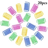 20 pcs colorful cat spring toy set plastic flexible cat coil toy interactive kitten training exercise toys pet cats accessories