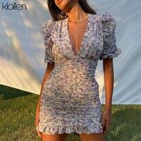 KLALIEN модное элегантное женское платье с цветочным принтом в стиле бохо для офиса и улицы с пышными рукавами и V-образным вырезом облегающее л...