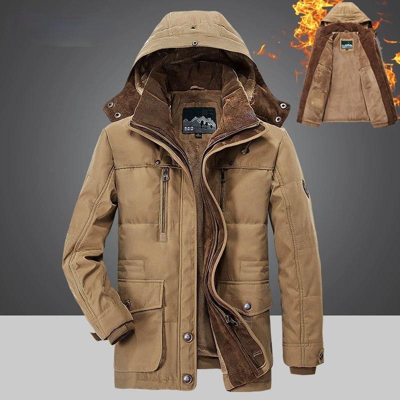 Winter Men Hooded Parkas Fur Linner Thicken Jacket Male Casual Overcoat Hat Detachable Coats Man Plus Size 4XL