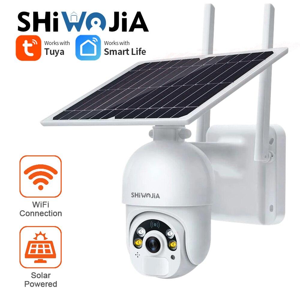 كاميرا شيوجيا الشمسية الخارجية تعمل بالواي فاي 1080P تويا الحياة الذكية الشمسية الصغيرة 360 قبة لاسلكية CCTV كاميرات المراقبة