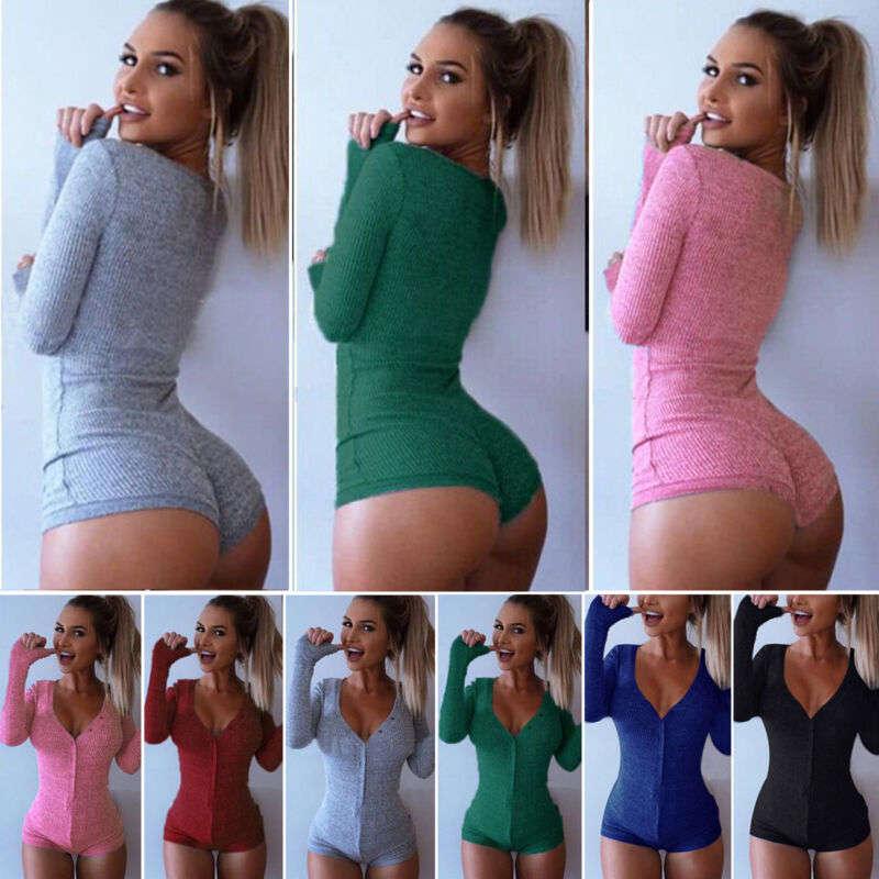 Top Bodycon V Neck Shorts Blouse Romper Women's Jumpsuit Sexy Sleepwear Bodysuit