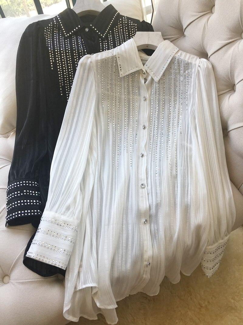 New Fashion Westernized Ironing Blouse Female Dress Design Sense Minority Shirt Skirt Chiffon