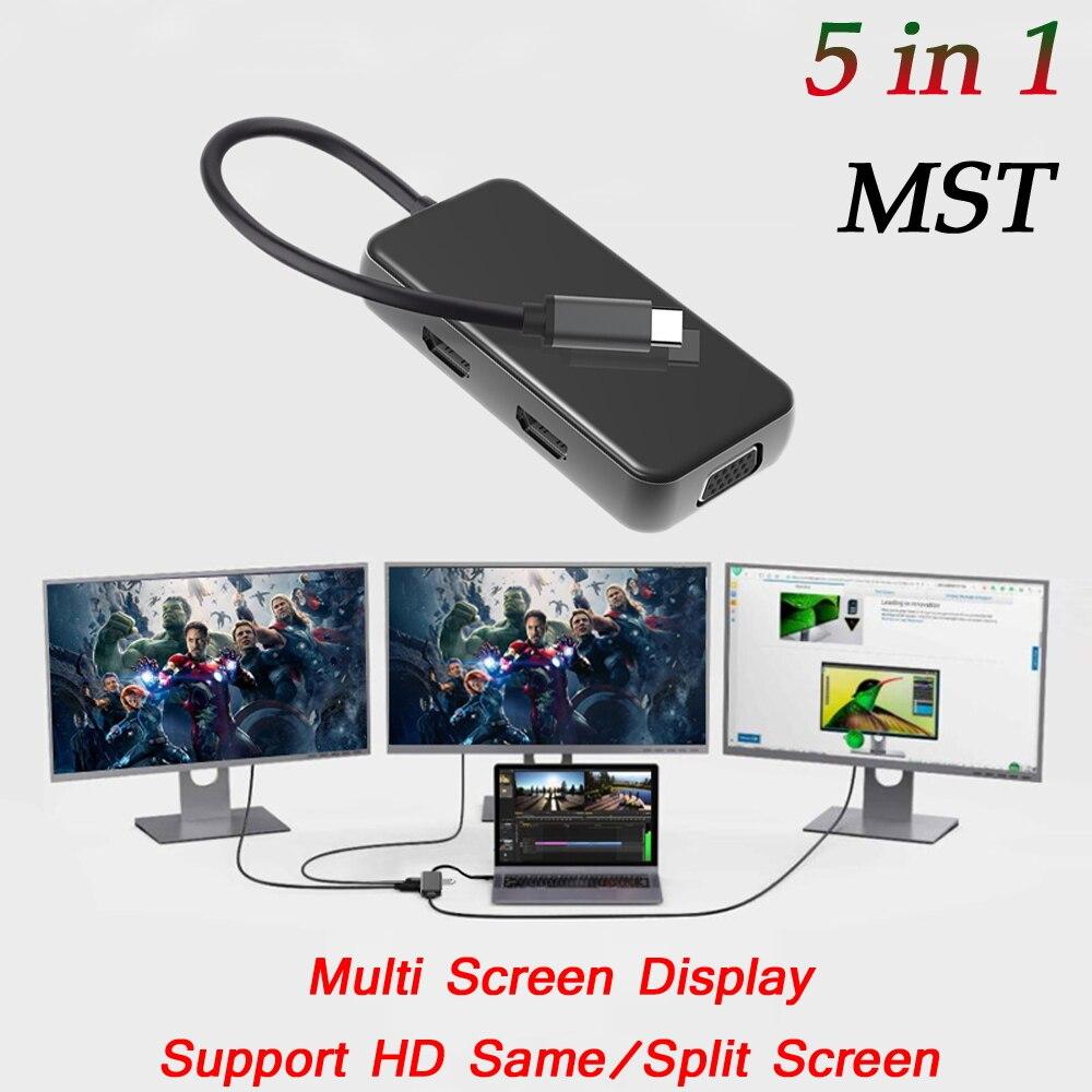 مزدوج HDMI-متوافق HUB USB 3.0 HUB نوع C VGA PD HDMI-متوافق مع USB C محول محطة الإرساء لأجهزة الكمبيوتر المحمول نوع C Hub Dock