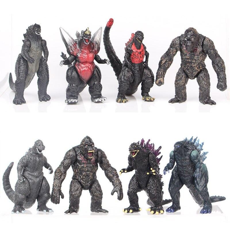 8pcs/set 8cm Q New Godzilla Red Lotus Godzilla Kong Kim Battle Dinosaurs PVC Kids Gift Action Figure Collection Model Toy