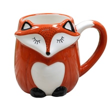 500ML Cute Animal 3D Fox Coffee Cup Large Capacity Hand Painted Cartoon Ceramics Breakfast Milk Mug Free Shipping