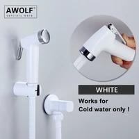 hand held toilet bidet sprayer white plastic shattaf bidet faucet douche kit shower washer solid brass angle valve ap2291