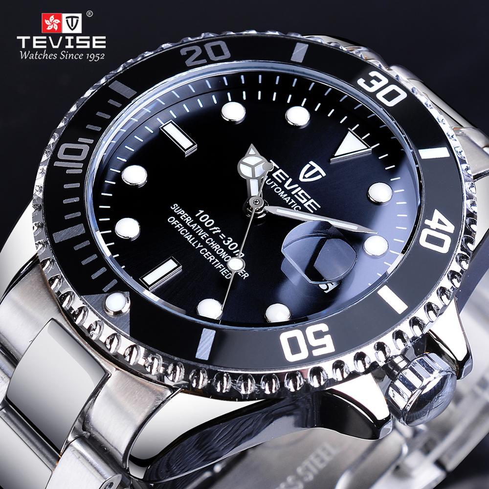 TEVISE Men Black Silver Stainlsee Steel Date Dispaly Top Luxury Brand Waterproof Luminous Automatic