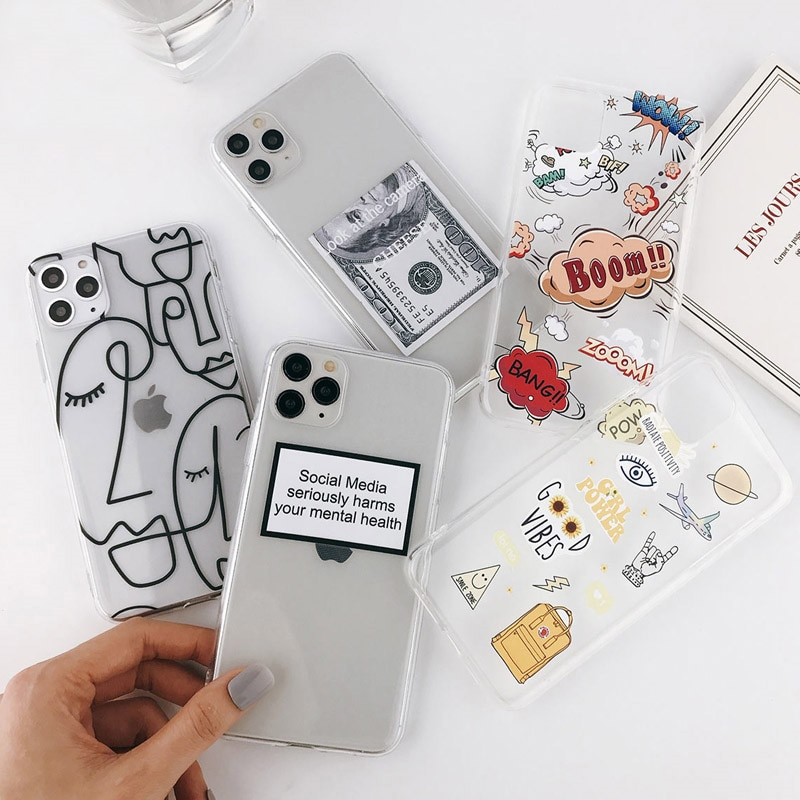 Funda de teléfono móvil con dibujos divertidos de Moskado para iPhone 11 Pro Max X XR XS, 6, 6s, 7, 8, 5 5s, SE, arte abstracto, cubierta trasera de silicona de TPU suave transparente