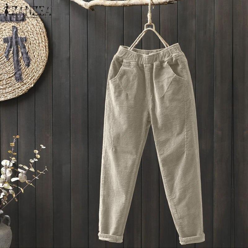 Pantalones de pana de talla grande para primavera y pantalones bombachos largos...