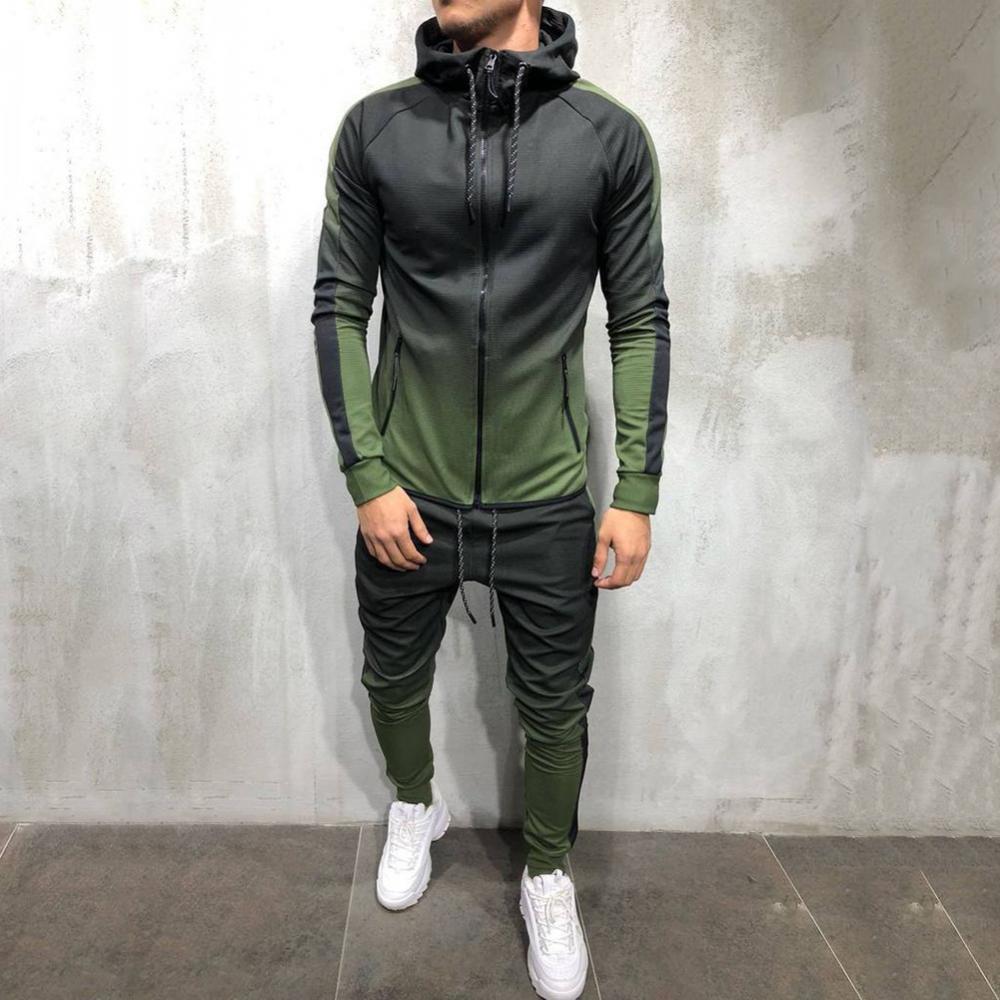 Лидер продаж 50%, модный мужской спортивный костюм с градиентными цветами, толстовка, брюки, комплект Спортивных Костюмов