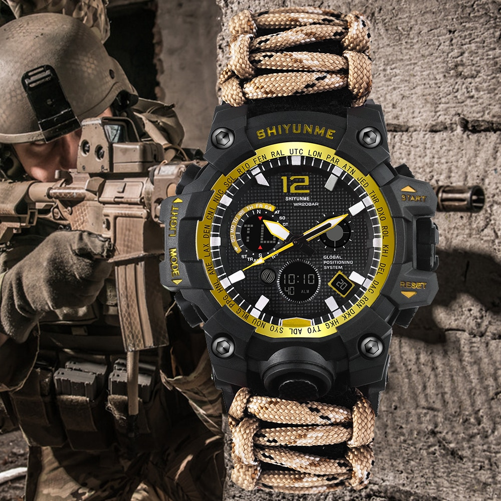 SHIYUNME Men's Watch Luxury Brand Men's Sports S-Shock LED Digital Clock Waterproof Compass Military