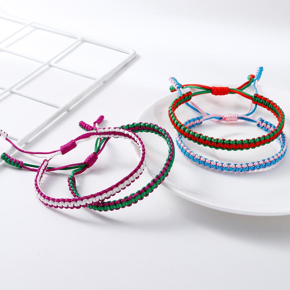 Simples trançado amizade pulseira tibetano budista fio de náilon artesanal nó corda pulseiras moda jóias para mulher