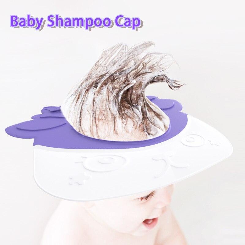 Shriymariy Children's Shower Cap Baby Cartoon Hair Wash Shield Hat Waterproof Adjustable Shampoo Caps for Newborn Baby Bath Care