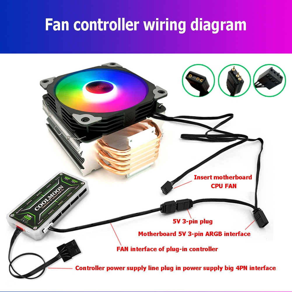 For Coolmoon Fan Suppply Cooler Cooling Speed Controller Adapter Cable Small 4/6Pin to 5V ARGB 3Pin Converter Cord Accessories