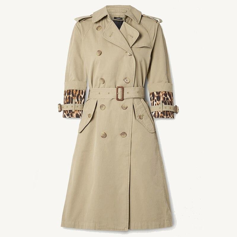 Leopard Spliced Epaulet Vintage Khaki Cotton Trench Coat with Sashes Belt Women Long Jackets 2020 Ne