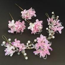 Diadema rosa para el cabello para Mujer Accesorios corona Diadema con flores horquillas florales guirnalda de boda diadema para el cabello niñas Aro para la cabeza