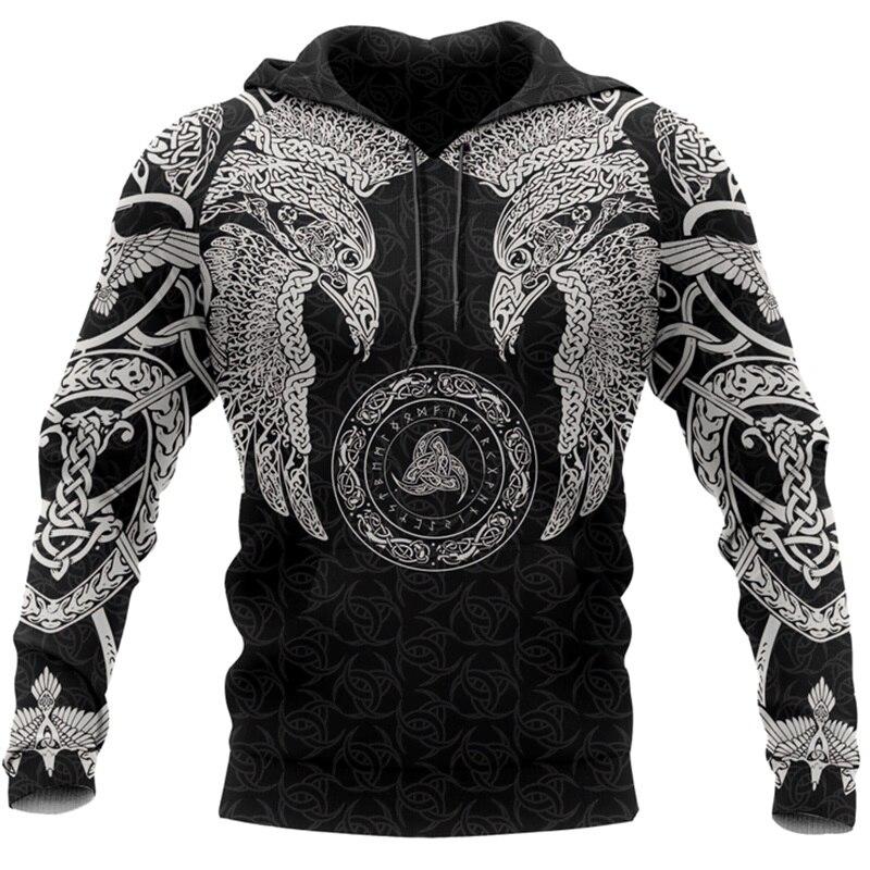 Viking munin crow - odin tatuagem 3d impresso hoodies harajuku moda moletom com capuz outono unissex hoodie sudadera hombre